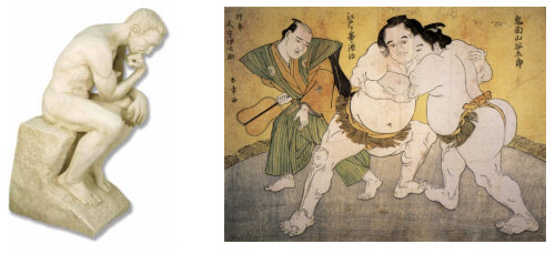 The Thinker versus a sumo wrestler