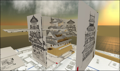 Himeji Castle under construction in Second Life